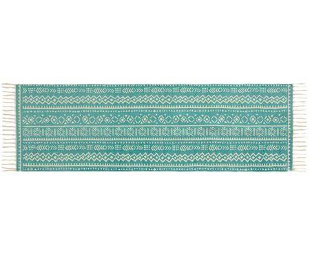 Läufer Afra mit grafischem Muster in Türkis-Weiss