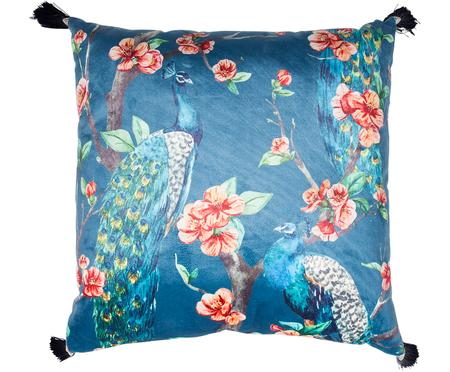 Cuscino in velluto Paradise Peacock, con imbottitura