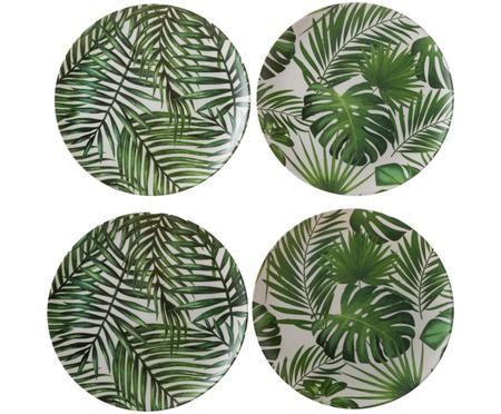 Bambus-Frühstücksteller-Set Tropical, 4-tlg.
