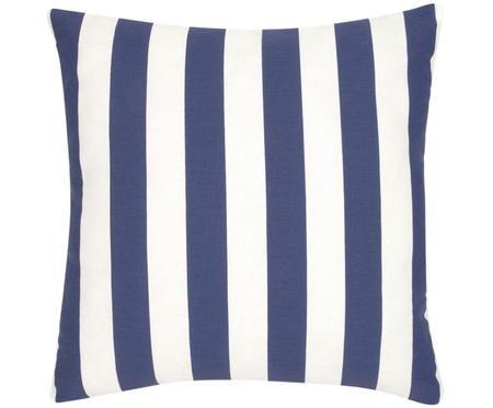 Housse de coussin à jeu de rayures bleu foncé et blanc Timon
