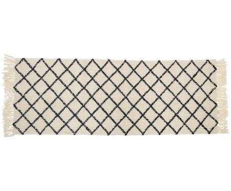 Tapis de couloir en laine à imprimé losange Alva