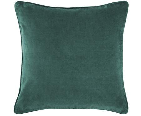 Einfarbige Samt-Kissenhülle Dana in Smaragdgrün