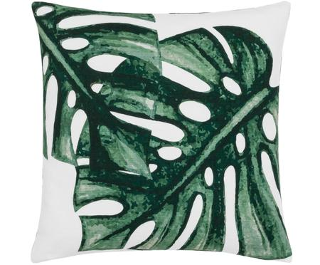 Kussenhoes Tropics met monstera print in groen/wit