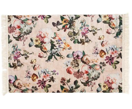 Vloerkleed Fleur met bloemmotief en franjes