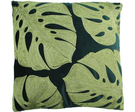 Housse de coussin brodé de monstera Multiple Leaf