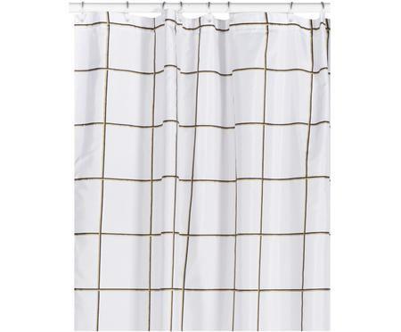 Wit douchegordijn Grid met ruitjes in zwart/goudkleurig