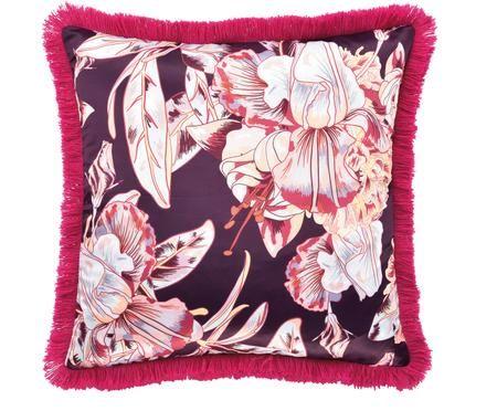 Kissenhülle Paradise in Lila/Pink mit Satin-Finish und Fransen