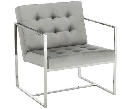 Fauteuil large en velours gris Manhattan