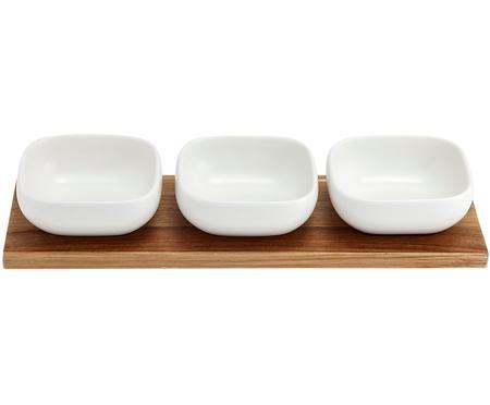 Komplet miseczek  z porcelany i drewna akacjowego Essentials, 4 elem.