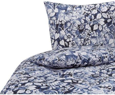 Bettwäsche Castle Garden mit floralem Muster in Blau/Weiß