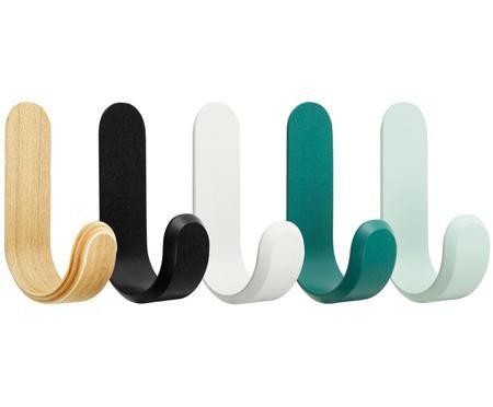 Sada designových nástěnných háčků Curve, 5 dílů