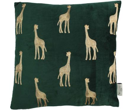 Geborduurd fluwelen kussen Giraffe, met vulling