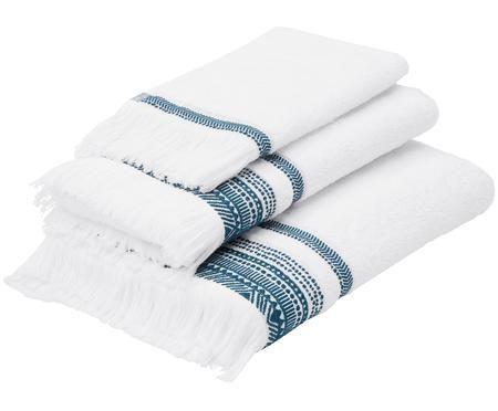 Set 3 asciugamani con bordo ricamato Brina