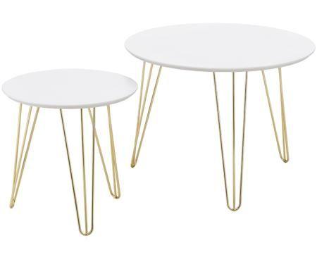 Ensemble de 2 tables d'appoint avec plateau blanc Sparks