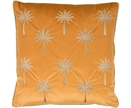 Federa arredo in velluto ricamata Palms