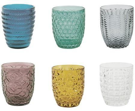 Vasos de colores con relive Geometrie, 6uds.