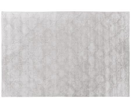 Handgetufteter Viskoseteppich Magali in Hellgrau mit Muster