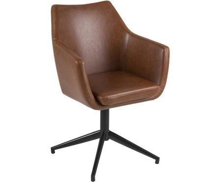 Chaise pivotante en cuir synthétique Nora