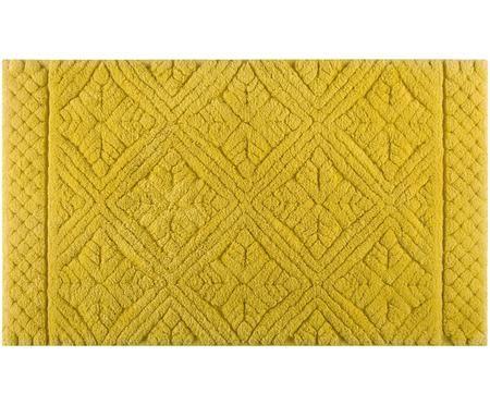 Flauschiger Badvorleger Retro in Gelb