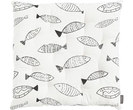 Sitzkissen Fishes in Schwarz-Weiß