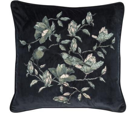 Haftowana poduszka z aksamitu Colibri, z wypełnieniem