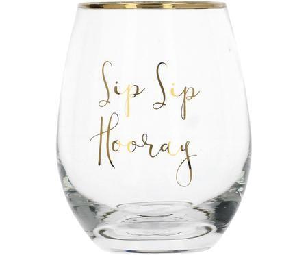 Glas Sip Sip Hooray mit goldener Aufschrift