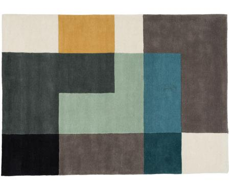 Tappeto design Tetris in lana, taftato a mano