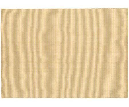 Fein gestreifter Wollteppich Ajo in Gelb-Creme, handgewebt