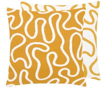 Feinstrick-Wendekissenhülle Amina mit abstraktem Linienmuster