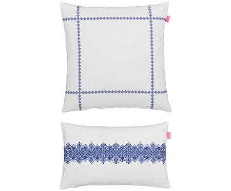 Kissenbezüge Lace in Weiß/Blau, 2er-Set