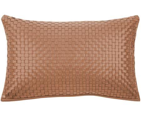 Housse de coussin en cuir avec motif tressé cognac Josefin