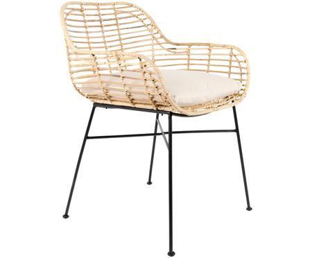 Krzesło z podłokietnikami z rattanu Tiger