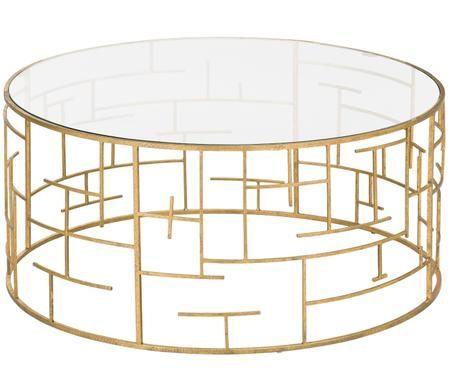 Tavolino da salotto dorato con piano in vetro Nola