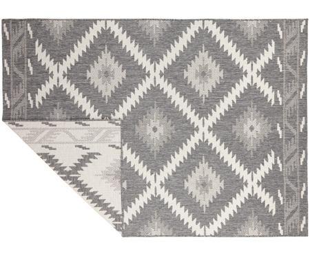 Dubbelzijdig in- & outdoor vloerkleed Malibu in ethno stijl, grijs-wit