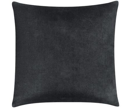 Housse de coussin en velours côtelé gris foncé Mikkel