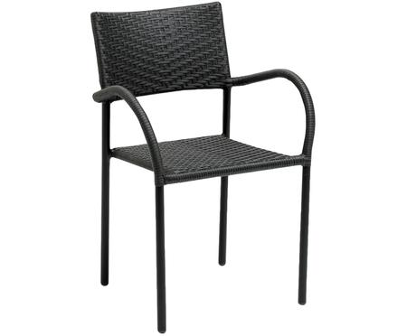 Krzesło ogrodowe z polirattanu z podłokietnikami Loke