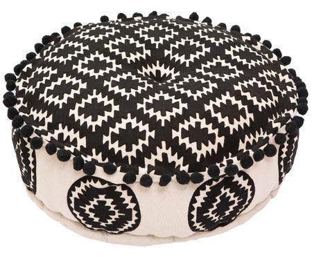 Okrągła poduszka podłogowa z lnu Aztec