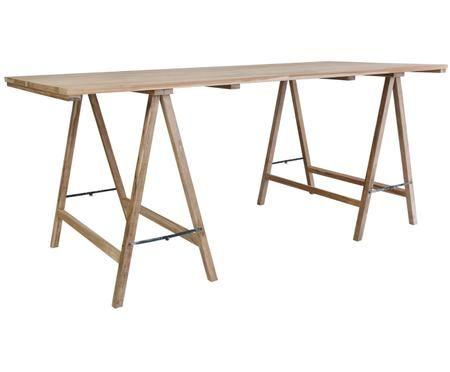 Massief houten tafel Trestle in scandi design