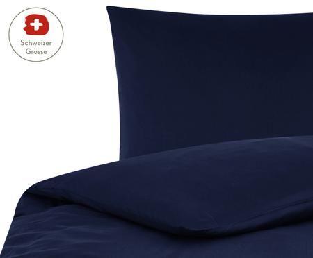 Baumwollsatin-Bettdeckenbezug Comfort in Dunkelblau