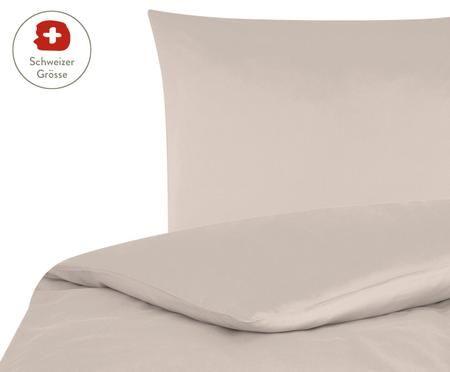 Baumwollsatin-Bettdeckenbezug Comfort in Taupe