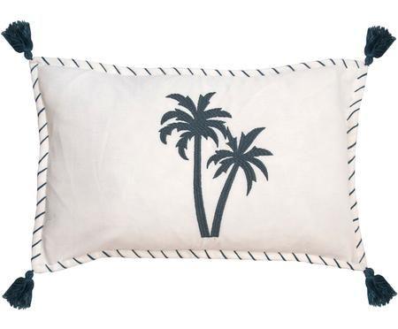 Kussenhoes Bali met palmen borduurwerk en kwastjes
