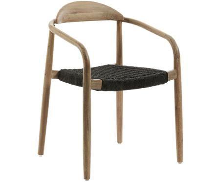 Chaise à accoudoirs de bois massif Nina