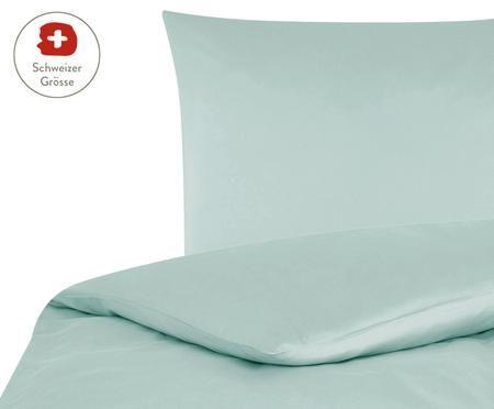 Baumwollsatin-Bettdeckenbezug Comfort in Salbeigrün