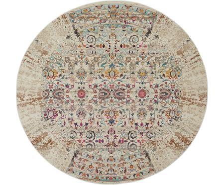 Okrúhly koberec s nízkym vlasom Kashan