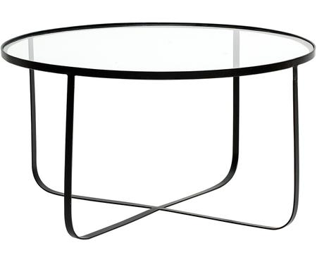 Metalen salontafel Harper met glazen plateau