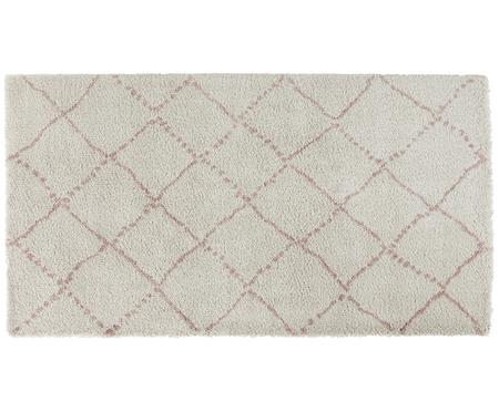 Flauschiger Hochflor-Teppich Hash in Rosa-Creme