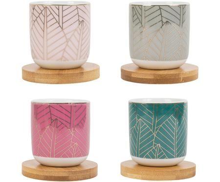 Porzellan-Becher mit Bambusuntersetzer, 8-tlg.