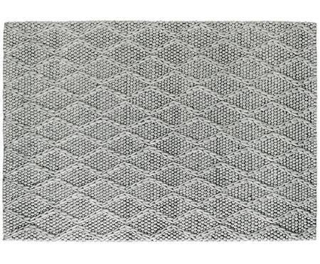 Tapis en laine gris clair tissé à la main My Studio