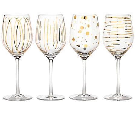 Weingläser Mikasa Cheers mit goldenen Verzierungen, 4er-Set