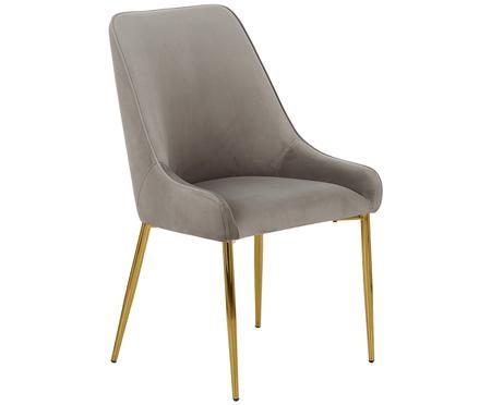 Sametová čalouněná židle se zlatými nohami Ava